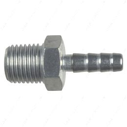 """AN840-04-04A Straight 1/4"""" NPT Pipe to 1/4"""" .250"""" Hose Barb Fitting Bare Aluminum"""