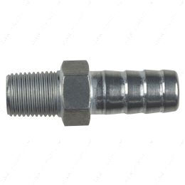 """AN840-06-02A Straight 1/8"""" NPT Pipe to 3/8"""" .375"""" Hose Barb Fitting Bare Aluminum"""