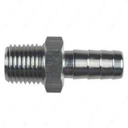 """AN840-06-04A Straight 1/4"""" NPT Pipe to 3/8"""" .375"""" Hose Barb Fitting Bare Aluminum"""