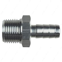 """AN840-06-06A Straight 3/8"""" NPT Pipe to 3/8"""" .375"""" Hose Barb Fitting Bare Aluminum"""