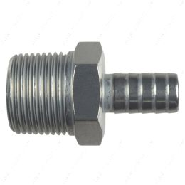 """AN840-08-12A Straight 3/4"""" NPT Pipe to 1/2"""" .500"""" Hose Barb Fitting Bare Aluminum"""