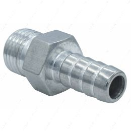 """F060R375BA Straight 6AN ORB to 3/8"""" Hose Barb Fitting Bare Aluminum"""