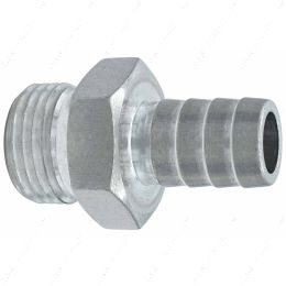 """F080R500BA Straight 8AN ORB to 1/2"""" Hose Barb Fitting Bare Aluminum"""